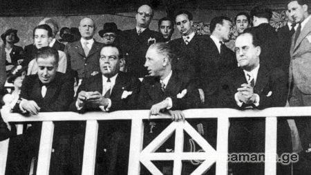 პრეზიდენტი სუნიოლი (სიგარეტით) ხენერალიტეტის პრეზიდენტთან, ლუის კომპანისთან ერთად ლეს კორტსზე, 1936 წლის 31 მაისს